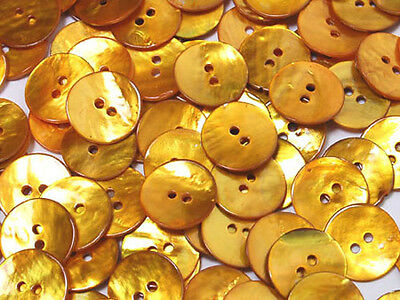 B149 Gold yellow Mother of Pearl Round Shell Buttons Sewing Craft 15mm 80pcs