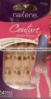 Nailene Couture 24 Glue-on Nails Shiny Gold Tips+black Flower+glitter 71164 2/10