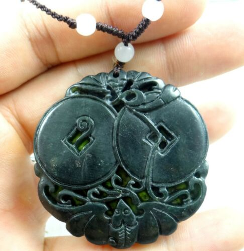 100/% Chinese jade hand-carved the statue of bianfu and money PENDANT