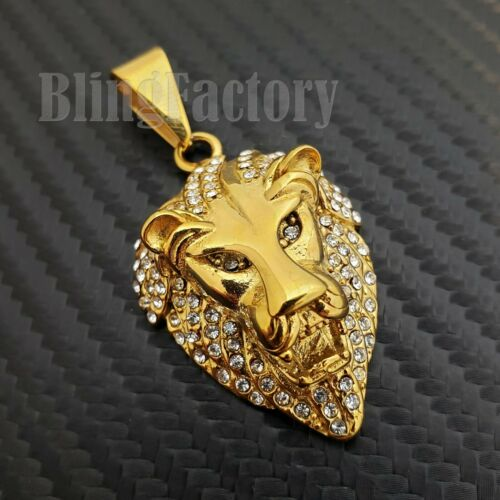 HIP HOP ICED GOLD PLATED STAINLESS STEEL LAB DIAMOND LION HEAD CHARM PENDANT