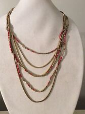 $79 Lucky Brand Red & Gold Bead Multi-Chain Long Layered Necklace#319