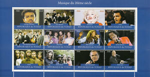 TCHAD-2018-CTO-madonna-george-michael-Beatles-Rolling-Stones-12-V-M-S-timbres