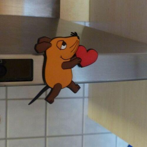 """Deko Ovp Neu /""""Maus mit Herz/"""" Die Maus Pinnwand 3D Kühlschrankmagnet"""
