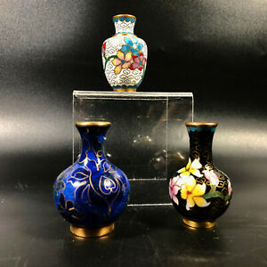 3-Miniature-Floral-Limoge-Looking-Vases-2-034-x-1-5-034