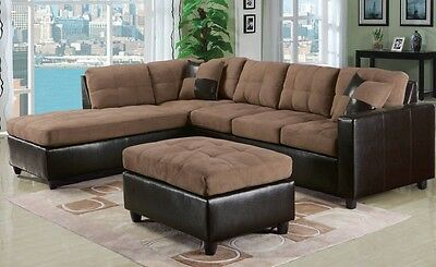 Pleasing Milano 3Pc Reversible Sectional Sofa Chaise Ottoman Espresso Pu Easy Rider Couch Ebay Spiritservingveterans Wood Chair Design Ideas Spiritservingveteransorg