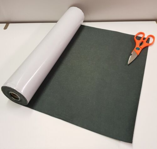 3 Metres x 450mm wide roll of CHARCOAL STICKY BACK SELF ADHESIVE FELT BAIZE