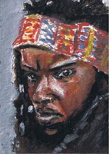 MICHONNE-Danai-Gurira-Face-Fan-Art-Mini-Oil-Painting-Original-FS-AMC-TWD-ACEO