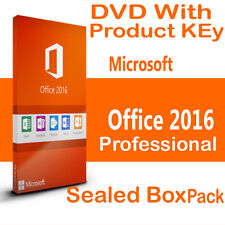 Microsoft Office Professional 2016  Genuine Pack Box Sealed With   DVD & key