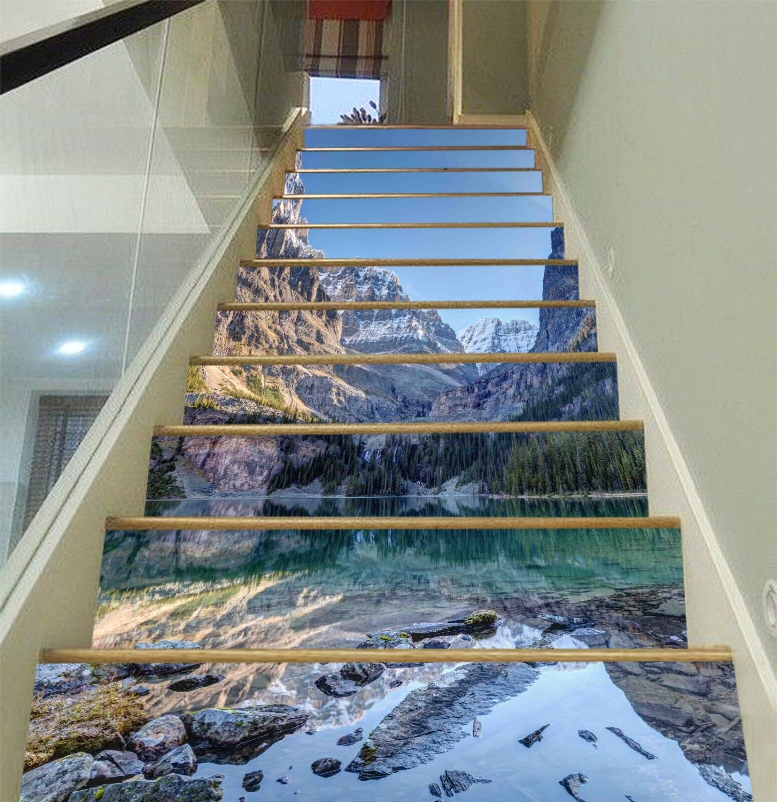 3D River Hills 2 Stair Risers Decoration Photo Mural Vinyl Decal Wallpaper UK