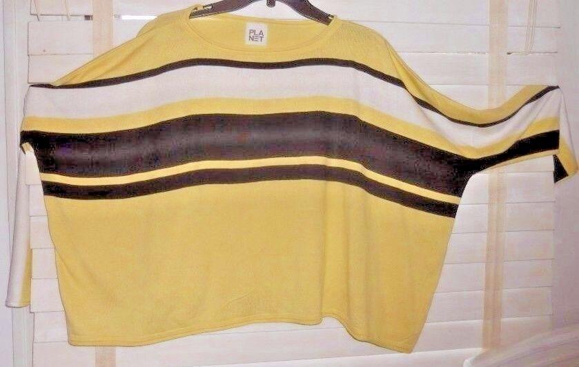Planet Lauren Grossman Grossman Grossman  Art to Wear  Yw Bl Wh Stripe Boxy Pima Sweater OSFA 99654e