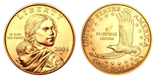 2004 P Native American Indian One Dollar Coin Sacagawea U.S Mint Money Coins