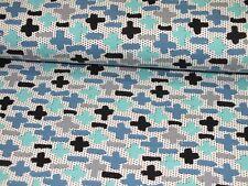 Jerseystoff Kreuze CrissCross mint blau Kinderstoff Meterware Baumwolljersey