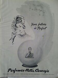 1946-Hattie-Carnegie-Parfum-Flasche-Kristallkugel-Ihr-Future-Ist-Perfekt-Anzeige