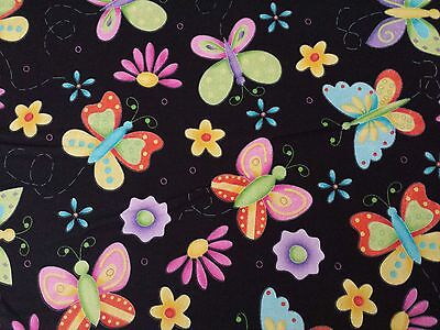 "22"" Lucky Duck Designs Novelty VIP Cranston Butterflies on Black Flower Floral"