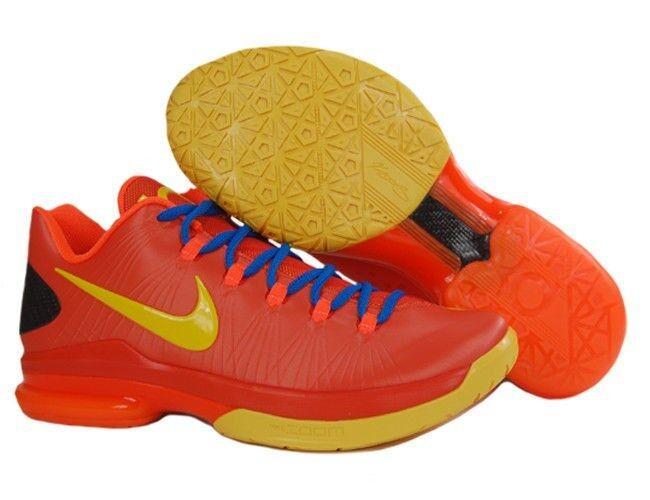 Nuove nike maschile elite kd v serie basket scarpa arancio / giallo / blu 585386-800