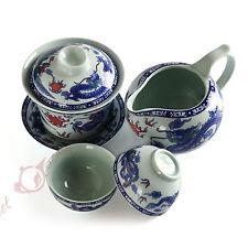 4pcs Porcelain Dragon phoenix Gaiwan Pitcher teacup Chinese Gongfu Tea set 130ml