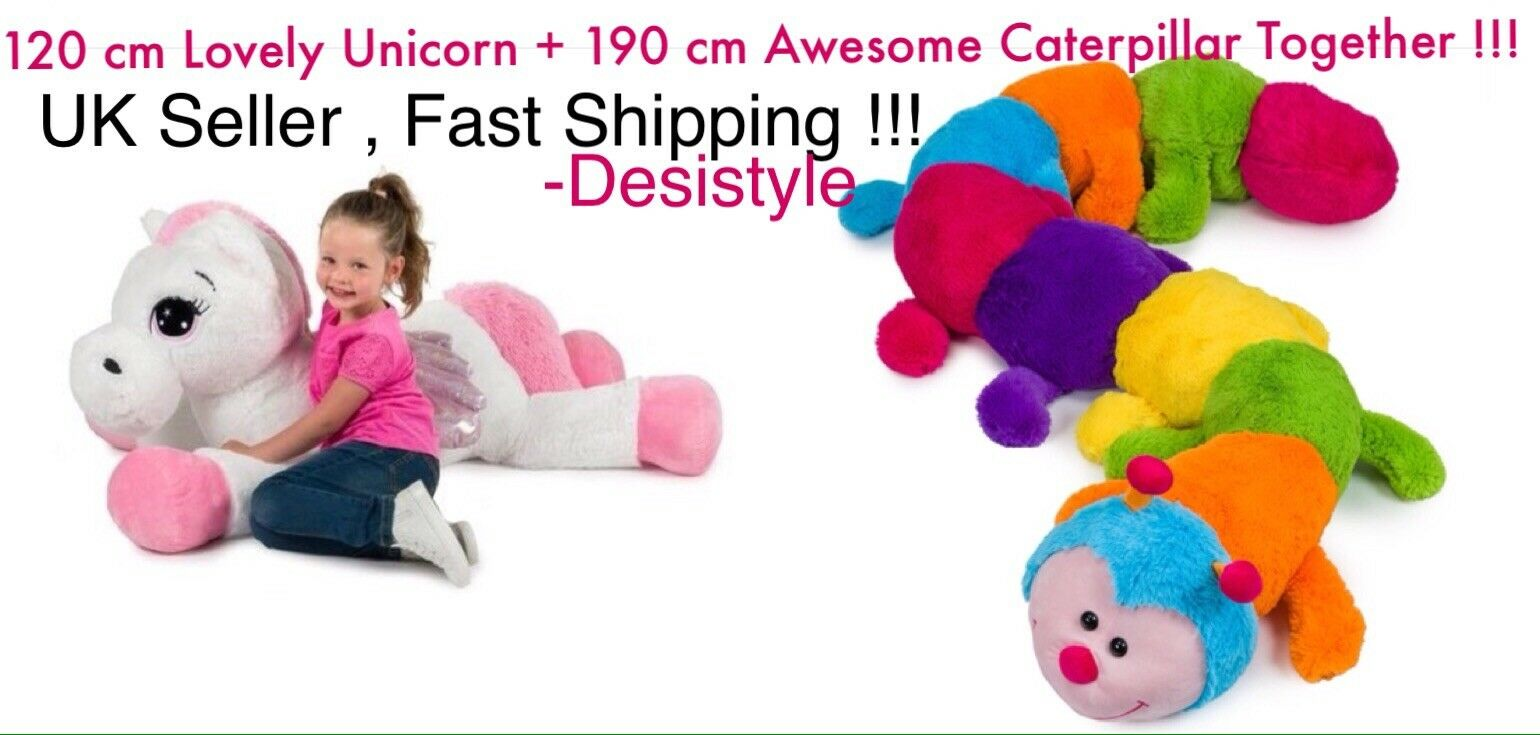 120cm White & Pink Unicorn & 190cm Giant Caterpillar SOFT TOY PLUSH Kids Gift UK