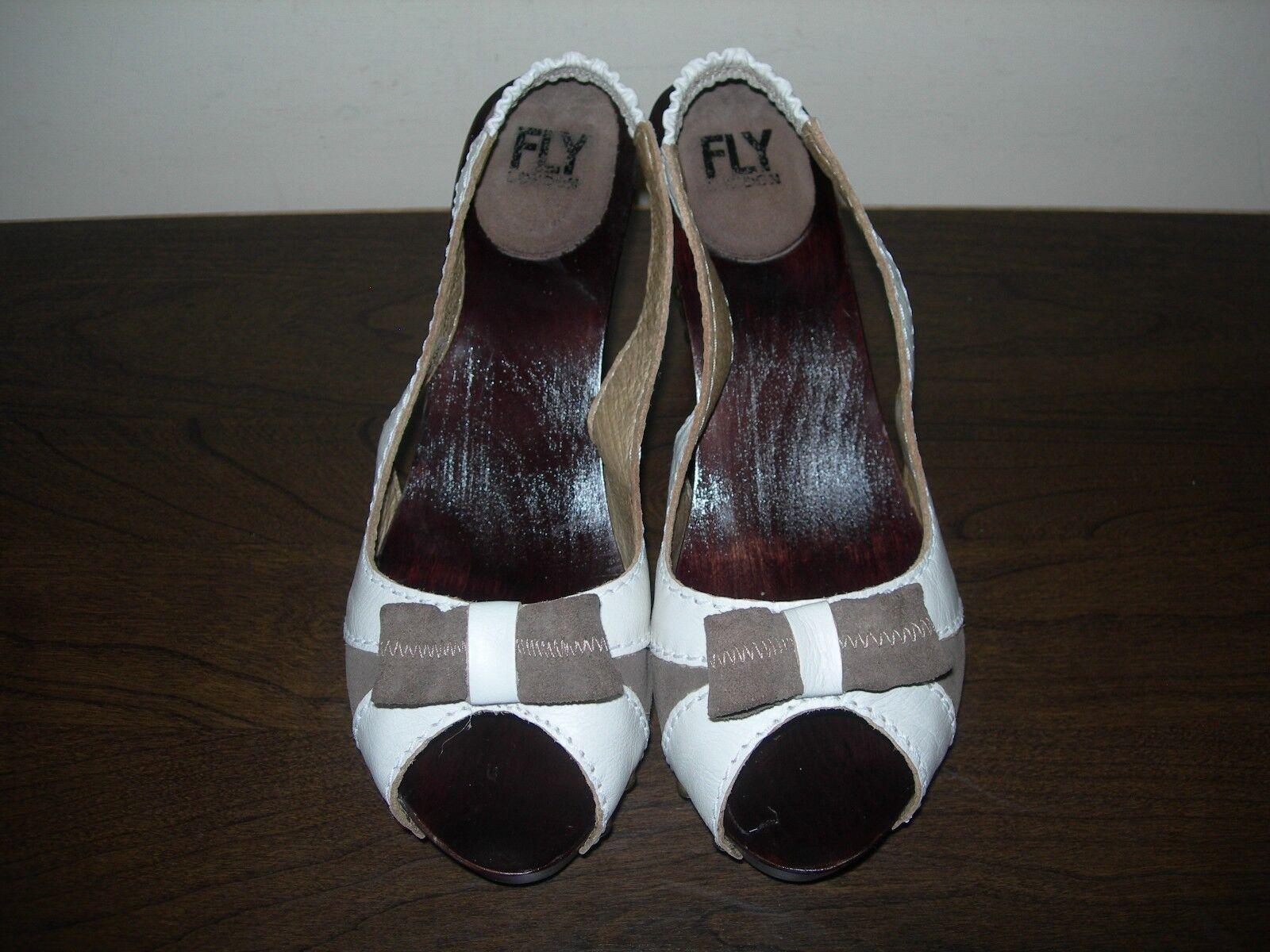 Fly London Para mujeres Sandalias Tacones Zapatos peep toes toes toes cuero madera EU 38 UK 5 0c0223