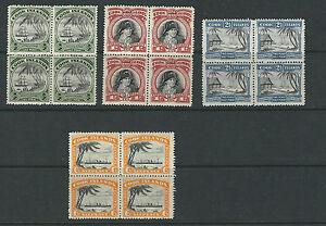 COOK-ISLANDS-1933-36-COOK-AVARUA-HARBOR-etc-Scott-91-92-94-96-MNH-blocks