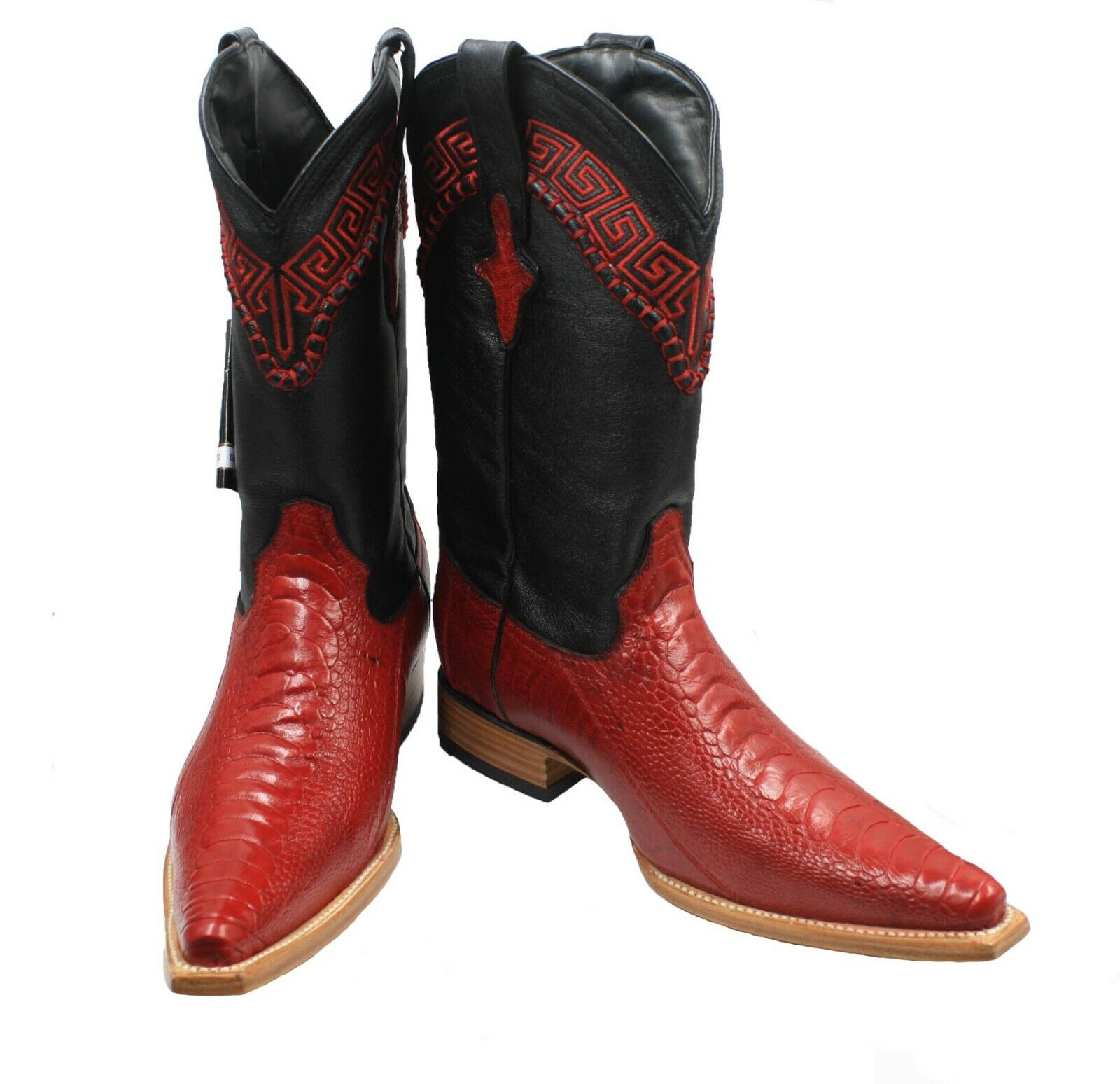 Para Hombre blancoo Diamond Avestruz pierna 3X rojo del dedo del pie botas Artesanal