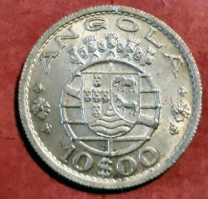 Angola-Portuguesa-10-Escudos-1955-plata-Muy-Bella