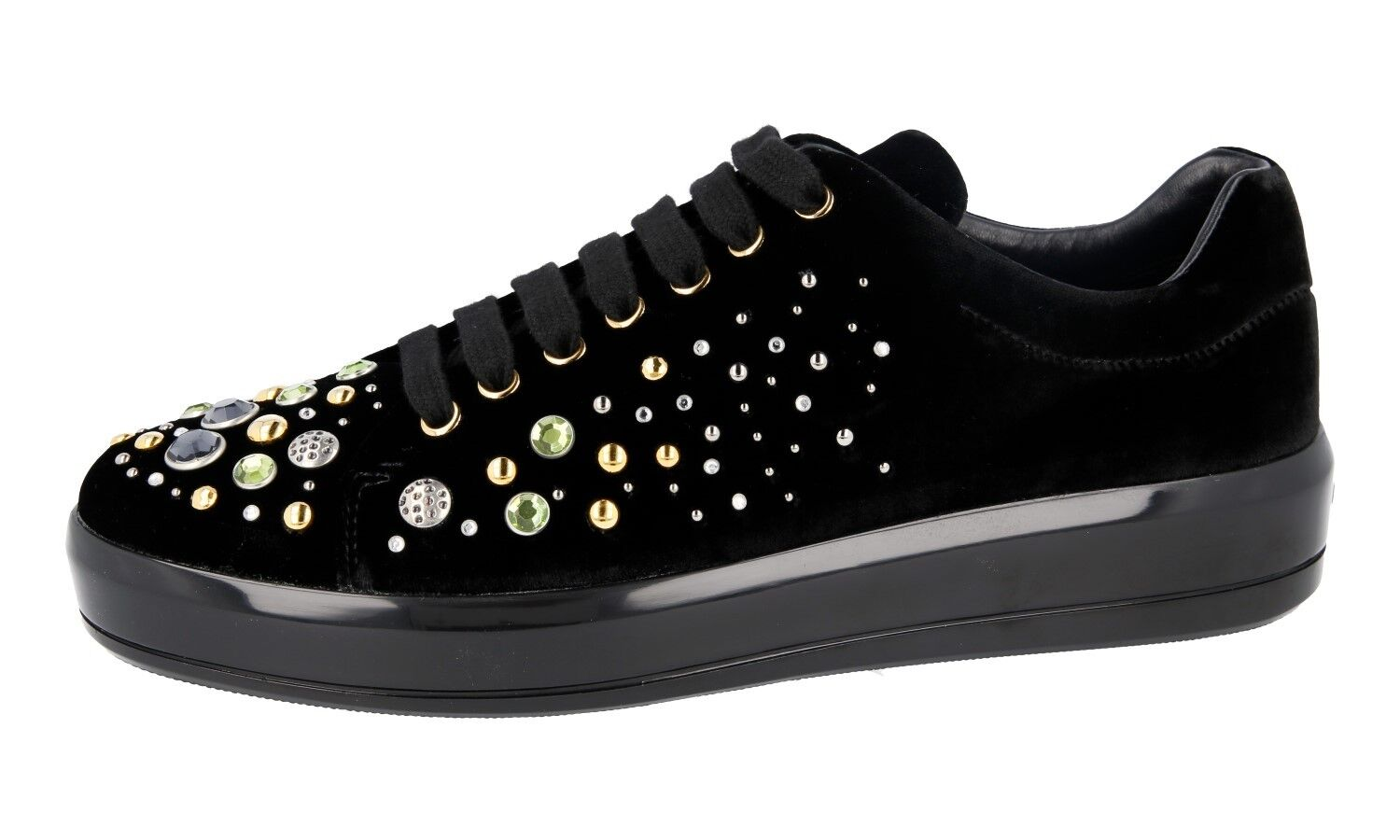 FANCY PRADA VELVET SNEAKERS BLACK SHOES 1E971H RHINESTONE 40 40 40 40,5 UK 7 67ee2d