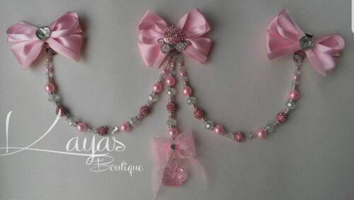 New Baby Girl Clip On Romany Pram Charm *Pink Princess* Shamballa Crystal