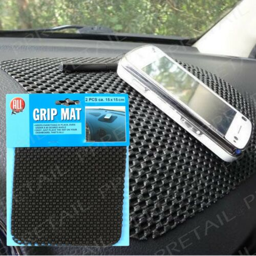 2 x Large 15cm Black ANTI SLIP Dash Gripper Mat Mobile Phone/Keys Car Holder/Rug