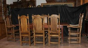Farmhouse-Dining-Set-Oak-Refectory-Table-Willam-and-Mary-Chairs