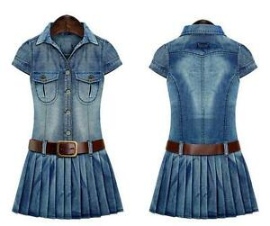 3c7cfdb37b0 Fashion Women s Washed Denim Pleated Dress Casual Jean Shirt Dresses ...