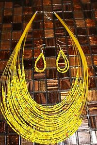 Handmade-Seed-bead-Necklace-and-Matching-Earrings-Yellow-amp-accents