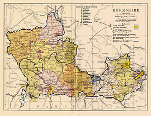 Map Of The County Of Berkshire England Ebay