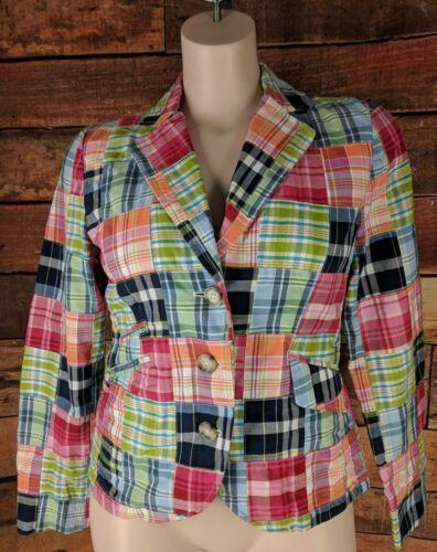 LL Bean~12~Madras Plaid Patchwork Blazer Jacket Mu