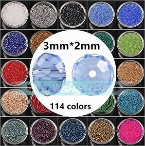 Wholesale-100pcs-3x2mm-Rondelle-Faceted-Crystal-Glass-Loose-Spacer-Beads-lot-DIY