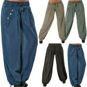 Womens-Baggy-Trousers-Harem-Hippie-Boho-Loose-Wide-Leg-Long-Pants-Belt-Haihk