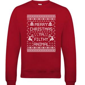 855e09612 Image is loading Merry-Christmas-Ya-Filthy-Animal-Mens-Funny-Sweatshirt-