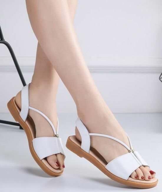 Sandals slippers woman sabot silver white beige fashion low comfortable 8113