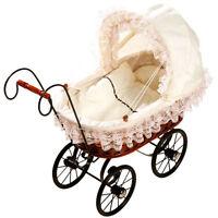 Brand NEW Childrens Antique Vintage Wicker White Lace Dolls Pram Pushchair