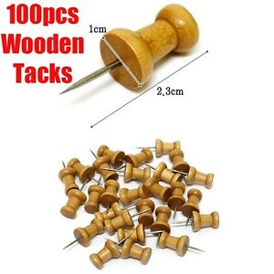 100pc-Wooden-Decor-Thumb-Tack-Push-Pin-Home-Office-Message-Bulletin ...