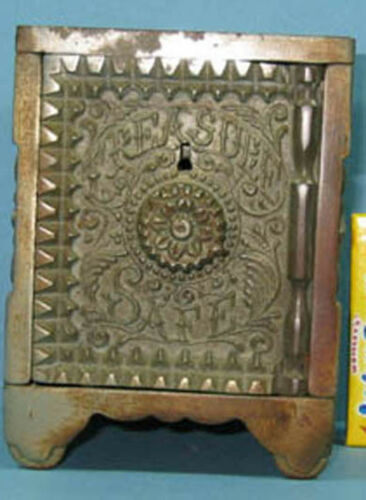 1897 TREASURE SAFE NIC IRON TOY BANK ORNATE AUTHENTIC & OLD NOW ON SALE CI515