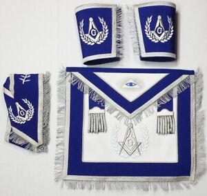 Blue Masonic Master Mason Cardura Apron,Collar gauntlets Set with Fringe