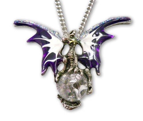Mystical Purple Dragon with Crystal Ball Pendant Necklace NK-136P