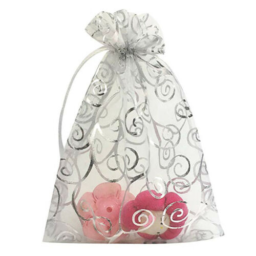 100PCS Organza Jewelry Gift Candy Floral Pouch Bags Wedding Party Favor Decor US