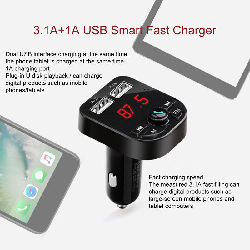 Bluetooth 5.0 Wireless FM Transmitter Car Audio MP3 Player Dual USB Charger Kit 9