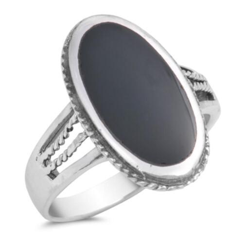 USA vendeur Ovale Anneau Argent Sterling 925 BEST DEAL Bijoux Noir Onyx Taille 6