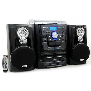 Jensen-Shelf-Stereo-System-with-Record-Player-3-CD-Changer-amp-Cassette-Recorder