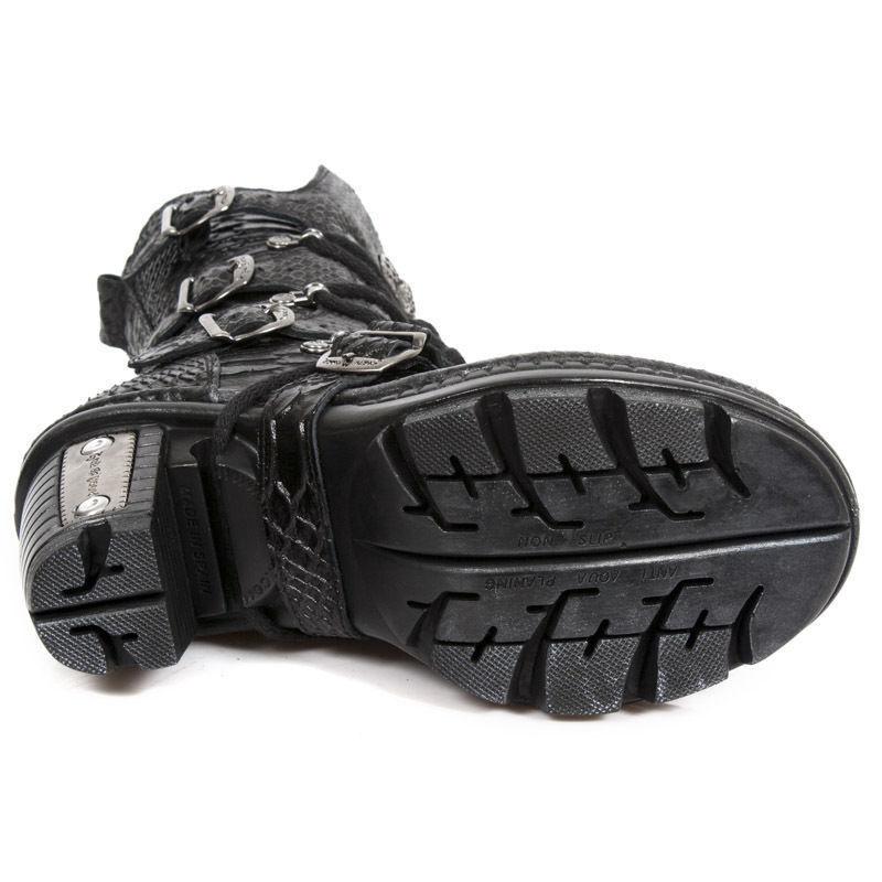 Moda barata y hermosa Newrock New Rock NEOTR 005-S19 Negro cuero Python botas de cuero Negro crudo Rock Punk Damas 85fcff