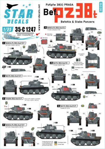 t Praga Befehls Stabs Panzers Eastern Front 35c1247 Star Decals 1//35 PzKpfw 38