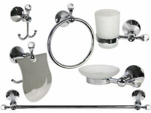 Accessori Da Bagno In Acciaio.Set Accessori Da Bagno In Acciaio Cromato E Vetro Satinato Con Cristalli 52834 Ebay