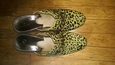 COLE HAAN GREEN PONY HAIR LEOPARD SHOES MULES CLOGS LEATHER SIZE 9.5B WOMENS